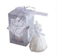 düğün davetlisi mumlar toptan satış-50pcs / set Düğün Gelin Giydirme Mum Misafir Düğün eşyalar Parti Mum Toptan Düğün Hediyesi Favor