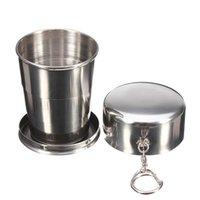 vasos plegables de acero inoxidable al por mayor-Taza plegable de acero inoxidable con llavero Taza retráctil portátil telescópica plegable Taza de agua para beber al aire libre