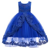 Wholesale princess little model for sale - Group buy Royal Blue Beaded Rhinestone Jewel Neck Sleeveless Little Girls Pageant Gowns Buttons Back Long Tail Tulle Flower Girls Dresses for Weddings