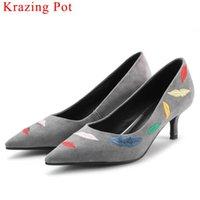 estiletes oxford venda por atacado-Krazing Pote estilo Europeu de couro genuíno stiletto de salto alto oxford apontou toe batom bordado plus size sapatos de vestido L28
