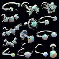 ювелирные изделия из хирургической стали из бровей оптовых-BOG-1pcs Surgical Steel Opal Ear Tragues Septum Clicker Nose Ring Nipple Shield Labret Eyebrow Piercing Earring Body Jewelry