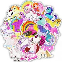 Wholesale cars wall stickers for kids resale online - Unicorn Stickers Poster Wall Sticker for Rooms Home Laptop Skateboard Luggage Car Kids DIY Cartoon Sticker Set Wall Decor GGA1624