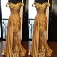 Wholesale golden mermaid gown for sale - Group buy Off The Shoulder Long Prom Party Dresses Arabic Golden Tulle Applique Ruched Beaded Floor Length Pageant Formal Evening Gowns