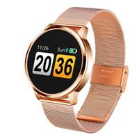 мобильный телефон с сенсорным экраном оптовых-Q8 Smart Watch OLED цветной экран Smartwatch женщины мода фитнес-трекер монитор сердечного ритма для iPhone android мобильный телефон
