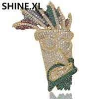 hediye mücevher uk toptan satış-Altın Kaplama UKA Maske Katı Kolye Kolye Erkekler Kadınlar için Mikro Kaplamalı Zirkon Hip Hop Bling Charm Zincirler Takı Hediyel ...