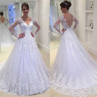 Wholesale princess wedding dress size 12 resale online - Sexy See Through Button Back Wedding Dresses Vestios De Novia V neck Sheer Long Sleeves Lace Appliques Beaded Cheap Bridal Gowns