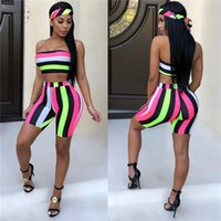 Wholesale spandex yoga sets resale online - Fashion Striped Sexy Pants Two Piece Set Top And Including Headscarf Beach Piece Summer Short Set D43 Aa02