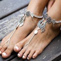 Wholesale sandal slave resale online - Boho Beach Barefoot Sandals Hollow Flower Disc Toe Anklet Bracelets Tassel Harness Slave Anklet Bracelet Turkish Jewelry