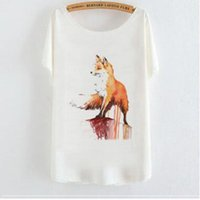 camisa da raposa mulheres venda por atacado-Qrxiaer camisa de verão pet fox imprimir manga curta casual lady girl top tee camisa das mulheres animal fox camisas