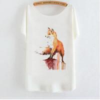 camisa de zorro de las mujeres al por mayor-Qrxiaer Camisa de verano Mascota Fox Imprimir manga corta Casual Lady Girl Top Tee Mujeres camisa animal Fox camisas