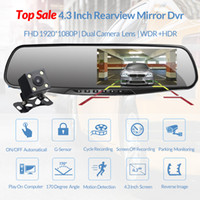 Wholesale high quality hd video camera resale online - High Quality Inch Car DVR Full HD Rearview Mirror with Rear View Camera Night Vision Dual Lens Dash Cam Auto Video Recorder