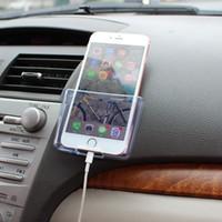 handy-auto-aufladung großhandel-Transparente Auto Universal Handyhalter ABS Auto Aufbewahrungsbox Auto Handy Ladekiste Auto-Styling