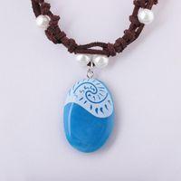 collar de cuerda de piedra azul al por mayor-Collar luminoso Ocean Romance Blue Stone Heart Colgantes Collar para mujer Joyería femenina Collares de cadena de cuerda incandescente