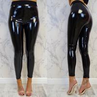 parlak polyester pantolonlar toptan satış-Sıcak Satış Kadınlar Seksi kalem pantolon streetwear deri pantolon Islak Look Parlak PU Deri Disko Elastiki Yüksek Bel Tozluklar Pantolon