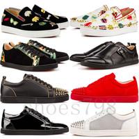 botas de tacón bajo al por mayor-top 2019 zapatos de gz con fondo rojo 19ss calcetín de pico donna spikes tops zapatillas de deporte chaussures tacones hombres casual mujer botas altas altas diseñador remache