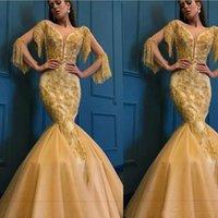 ingrosso vestito di tulle giallo si veste lungo-Splendidi abiti da ballo arabi a sirena in oro giallo Sexy scollo a V Poet 3/4 maniche lunghe paillettes appliquate tromba abiti da ballo africani