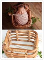 vintage bebek resimleri toptan satış-Yenidoğan fotoğraf prop vintage dokuma rattan bebek resim atış konteyner çerçeve çekim stüdyosu sahne