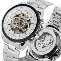 белый цвет часы мужчины оптовых-Skeleton Black/white Color Dial Men Watches Self Wind Mechanical Automatic Watch For Man Silver Stainless Steel Band Clock Gifts