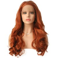 Wholesale synthetic wigs for sale - Group buy Orange Synthetic Lace Front Wig Free Part Heat Resistant Fiber Hair Glueless Hand Tied Orange Color Synthetic Lacefront Wigs With Baby Hair