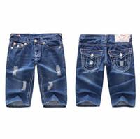 blue jean shorts for men toptan satış-Gerçek dinler erkekler şort moda yüksek kaliteli kısa pantolon tasarımcı erkekler Pantolon yaz Sokak hip hop kot Şort gerçek Açık mavi knickers