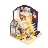 el yapımı model ev toptan satış-Minyatür Dollhouse Yapı El Yapımı Ev DIY Kulübe Montaj Modeli Mobilya Çocuk Doğum Günü Hediyesi Eğitici Oyuncaklar Bebek Aksesuarla