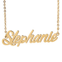 goldschrift großhandel-Personalisierte benutzerdefinierte 18 Karat vergoldet Edelstahl Skript Name Halskette