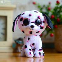 dibujos animados al por mayor-Al por mayor-Original TY Beanie Boos The Dalmatians Dog 15cm Soft Stuffed Plush Doll Baby Toy Animal Cartoon Gift