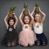 bling roupas de meninas venda por atacado-Marca de verão 2019 crianças vestidos para meninas casual wear bling estrela menina dress crianças boutique clothing tutu bebê meninas roupas