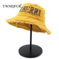 sombrero de ala ancha floral para mujer al por mayor-YWMQFUR Verano 100% algodón lavado Denim Sombrero para el sol Moda para mujer Floppy Cap al aire libre para mujer Playa de ala ancha Sombreros del cubo al por mayor