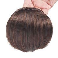 geflochtene pony großhandel-Short Bangs Braid Blunt Natürliche Haarteile Hitzebeständige Synthetische Frauen Haar Verfügbar Natürliches Kunsthaar