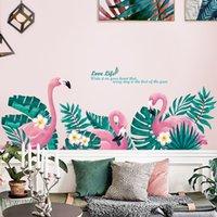 kinder mode bilder großhandel-52 * 145 cm Ins flamingo wandaufkleber für kinder mode kreative wohnzimmer schlafzimmer hintergrund dekoration luxus wohnkultur bilder Tapete