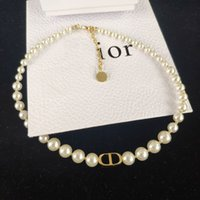 Wholesale pearl necklaces resale online - New Pearl CD Letter Fashion Necklace High Quality Pearl Necklace Women Jewelry NO BOX