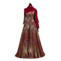 longitud formal modesta vestidos al por mayor-Lentejuelas brillantes musulmanes modestos Burdeos Vestidos de baile de manga larga Longitud del piso Árabe Dubai Brillo Patrón Formal Vestidos de noche Vestidos de fiesta