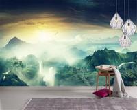 красивые обои природа оптовых-Оптовая 3d обои свежий природа лес водопад пейзаж HD фон стены красивые обои