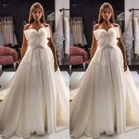 Wholesale beach strapless satin lace wedding dresses resale online - Bohemian Ivory Tulle Wedding Dresses With Big Bow Elegant Strapless Boho Beach Bridal Gowns Sweep Train A Line Bride Dress