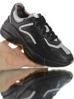 caoutchoucs vintage achat en gros de-hommes femmes Rhyton Vintage Trainer Sneaker, chaussures de jogging en cuir d'angle rétro, chaussures réfléchissantes 3M argent noir, rapport simple en caoutchouc