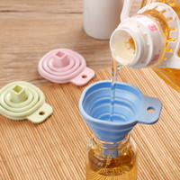 High Quality Square Protable Mini Silicone Gel Foldable Style Funnel Hopper Kitchen Cooking Tools Accessories Gadget LX1204
