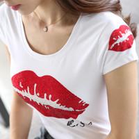kadınlar beyaz tişörtler toptan satış-T-shirt Kadın Rhinestone Kırmızı Dudaklar Kısa kollu 2018 Yeni Yaz kadın Elmas Tişörtleri Tops Femme Beyaz Tees Camisetas Mujer Y19042101