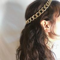 ingrosso fasce elastiche in metallo-Catene di metallo Fascia per capelli Boho Colore oro vintage per donne Ragazze Corda elastica Fascia per capelli Punk Fascia per capelli Accessori per capelli da sposa Regalo gioielli