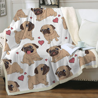 Wholesale hand woven throw for sale - Group buy Hippie Pug Sherpa Blanket on Beds Animal Cartoon Plush Throw Blanket for Kids Bedspread Bulldog Sofa Cover pc