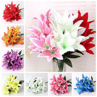 Wholesale silk lilies for sale - Group buy 10 Heads Artificial Lily Flower Artificial Silk Flowers Simulation Flower Party Decorative Flowers Cartoon Accessories CCA11022