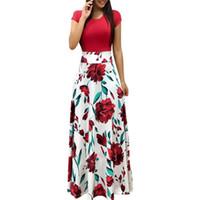 gece elbisesi avrupa yeni toptan satış-Yeni Avrupa Ve Amerika Stil Kadınlar Çiçek Baskı Maxi Elbise Moda Sıcak Satış Yaz Akşam Parti Zarif Uzun Elbise Y190514