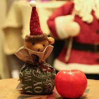 chocolates orgânicos venda por atacado-Natal da Apple Chocolates doces 1pc Cotton Papai Noel Presente sacos de cordão Canvas Organic Bag Opção 4 Pattern