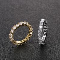 kupferringe für männer großhandel-4mm Größe 6-12 1 Row Männer Kupfer Gold Silber Farbe Kubikzircon Iced Out Tennis Ring Hip Hop Ringe