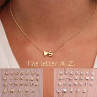 uzun koliler toptan satış-26 mektuplar uzun kazak zincir gerdanlık kolye tiny aşk kalp kolye kadınlar için collier severler hediye altın gümüş A-J