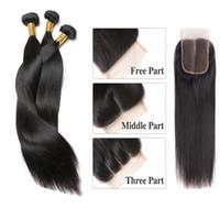 seidiges gerades menschliches haareinschlagfaden großhandel-Brazilian Silky Straight Hair Weaves 5 Bundles mit Verschluss Free Middle 3 Part Double Schuss Echthaarverlängerungen