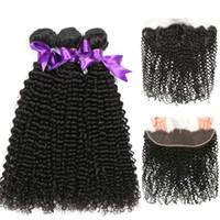 Wholesale kinky curly hair 4pcs closure resale online - Kinky Curly Hair Bundles With Frontal Human Hair Bundles With Closure x13 Lace Frtonal Brazilian Hair Weave Bundles With Frontal