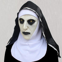 maske kadın lateksi toptan satış-Halloween Nun Mask Scared Female Ghost Headgear Nun Horror Cosplay Mask Costume Valak Scary Latex Mask With Headscarf 2 Style choose DHL