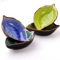 pratos cerâmicos japoneses venda por atacado-prato de cerâmica com forma de folha de pratos de cerâmica Japonesa Sushi pratos vinagre de soja tempero molho prato prato pequeno prato de lanche