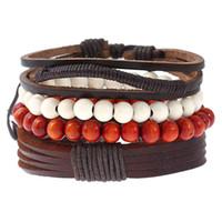 bracelet bricolage punk achat en gros de-Europe et l'Amérique casual minimaliste rétro ensemble bracelet diy bracelet en cuir tissé punk perles en bois pour hommes bracelet de corde de chanvre en cuir